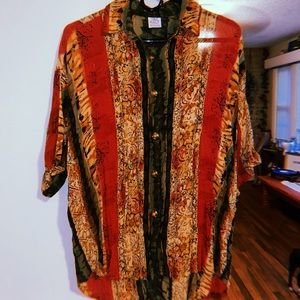 Vintage funky print button up shirt/blouse